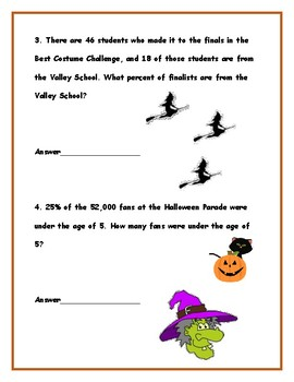 Halloween Percent Word Problems