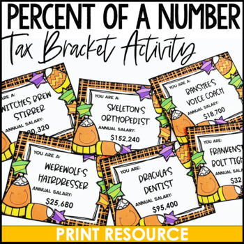 Halloween Percent of a Number Tax Activity