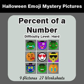 Halloween: Percent of a number - Color-By-Number Math Mystery Pictures