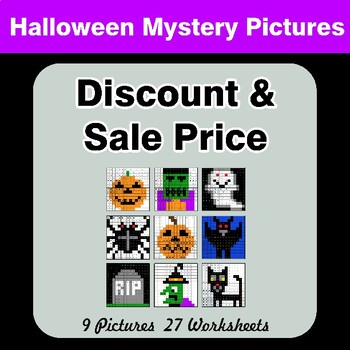 Halloween: Percents - Sale Price, Discount, Savings - Math Mystery Pictures