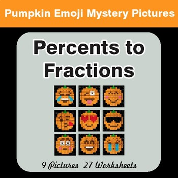 Halloween:  Percents to Fractions - Color-By-Number Math Mystery Pictures