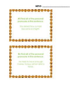 Halloween Personal Pronoun Task Cards