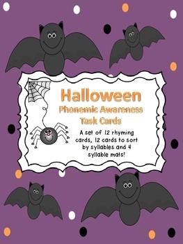 Halloween Phonemic Awareness Task Cards