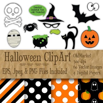Halloween Photo Booth Clip Art - 60 PNG, Jpeg and Vector Images-4 Digital Papers