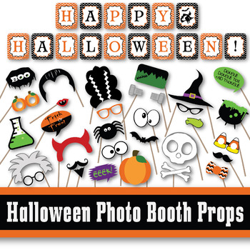 picture about Halloween Printable Decorations referred to as Halloween Picture Booth Props and Decorations - Printable