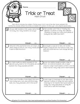Trick or Treat Math Circuit (3rd - 5th Halloween Math)
