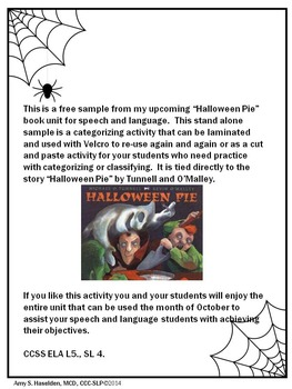 """Halloween Pie"" Book Companion FREEBIE!"
