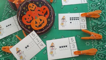 Halloween Pigs Count and Clip Cards