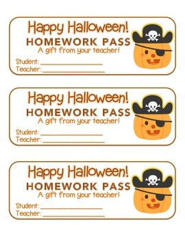 """Halloween"" Pirate Pumpkin - Homework Pass – FUN! (color & black line)"