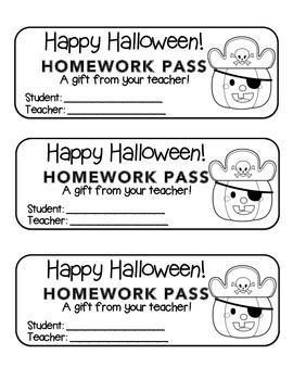 """Halloween"" Pirate Pumpkin - Homework Pass –Holiday FUN! (black line)"