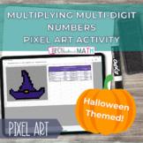 Halloween Pixel Art-Multiply Multi-Digit Numbers Self Corr