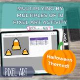 Halloween Pixel Art - Multiply Multiples of 10 Self Correc