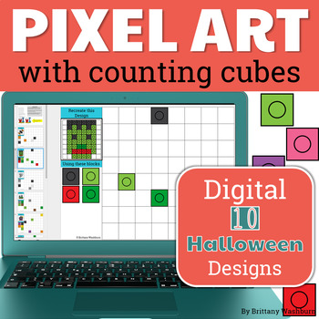 Halloween Pixel Art with Counting Cubes