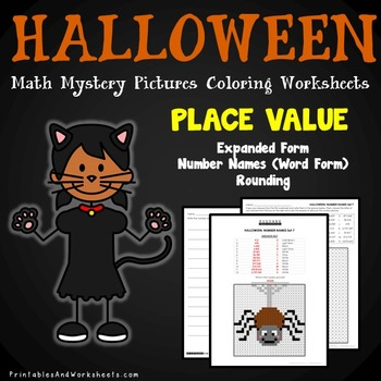 halloween place value activities mystery picture color by number math worksheet. Black Bedroom Furniture Sets. Home Design Ideas
