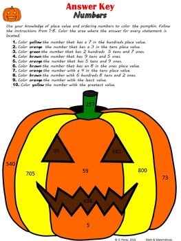 Halloween Place Value Coloring and Sorting activity-Comparing Numbers