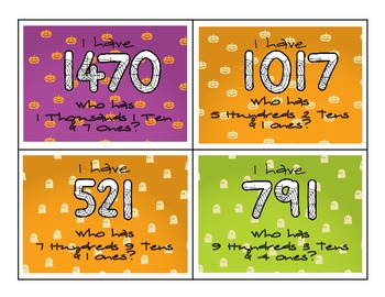 Halloween Place Value: I Have, Who Has Set 2