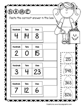 Halloween Place Value: Modeling Numbers