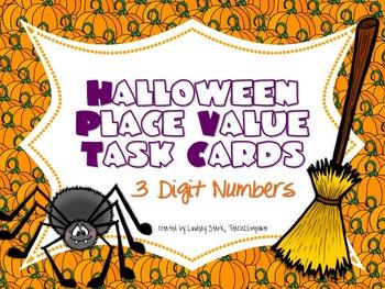 Halloween Place Value Task Cards (Bundle)