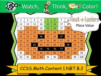 Halloween Place Value Watch, Think, Color Mystery Pictures