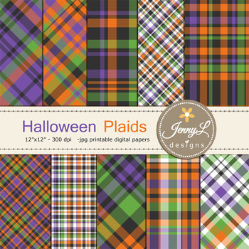 Halloween Plaids Digital Papers