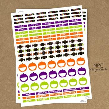 Halloween Planner Stickers - Printable Planner Stickers, Teacher Planner