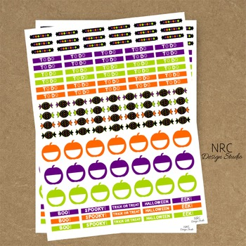 Halloween Planner Stickers - Printable Planner Stickers, T
