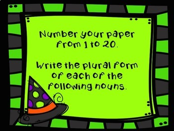 Halloween Language Arts- Plural Nouns - Spelling Activitiy