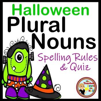 Halloween Language Arts- Plural Nouns - Spelling Activitiy