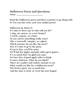 Halloween Poem worksheet