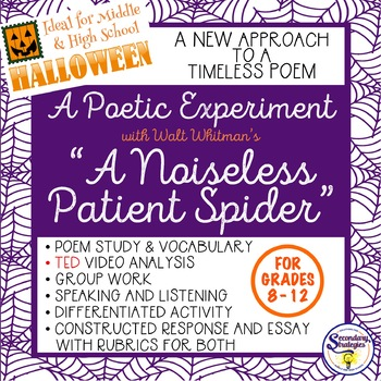 Halloween Poetry - A Noiseless Patient Spider Poem by Walt Whitman TED Talk
