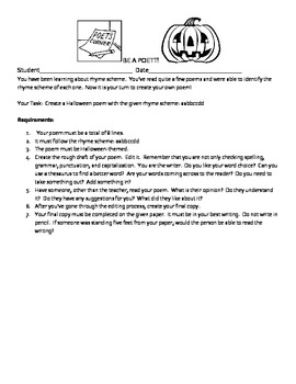 Halloween Poetry Activity Packet - Rhyme Scheme