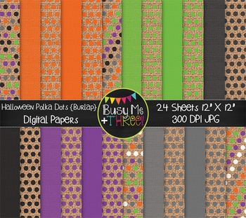 Halloween Polka Dots on Burlap Digital Papers {Commercial