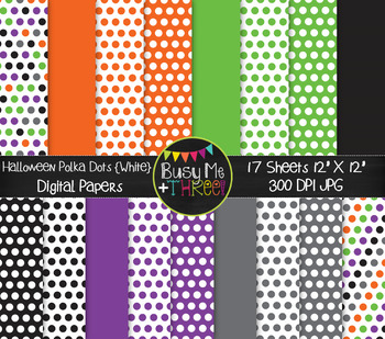 Halloween Polka Dots on White Digital Papers {Commercial U