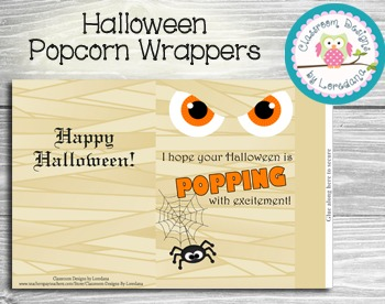 Halloween Popcorn Wrapper...Easy and adorable treat for your class!