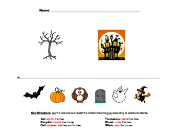 Halloween Position Words Cut/Paste