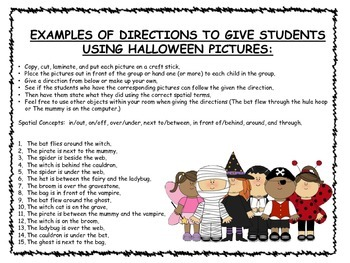 Halloween Positional Words Posters and Following Directions Activity