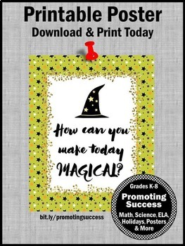 Halloween Poster, Magician Wizard Hat, Magical Theme Classroom Decor