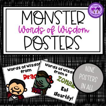"Halloween Posters - Monsters ""Words of Wisdom"""