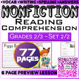 NonFiction Reading Comprehension Passages & Questions | Set 2/2 | Grade 2-3