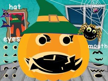 Jack-o-lantern Halloween Activity Power Point plus craft worksheet