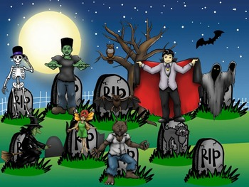 Halloween PowerPoint Interactive Activity - The Graveyard - Click 'n Play