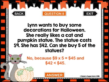 Halloween Word Problem PowerPoint Games: Mixed Operations