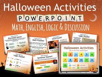 HALLOWEEN Starter Activities, No prep, no print! Grades 3 - 6 inc English, Maths