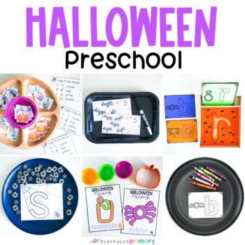 Halloween Pre-K Math & Literacy Bundle   20 Preschool Activities