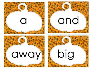 Halloween Pre Primer Dolch Words Flashcards