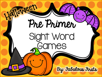 Halloween Pre Primer Sight Word Games