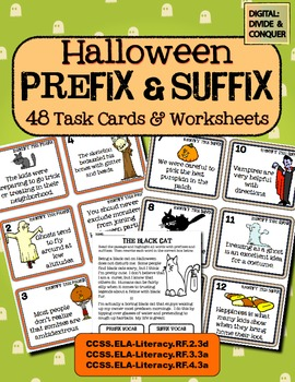 Halloween Prefix & Suffix Task Cards (48 total) & Worksheets!