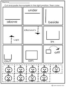 Halloween Preposition Activities for KINDERGARTEN