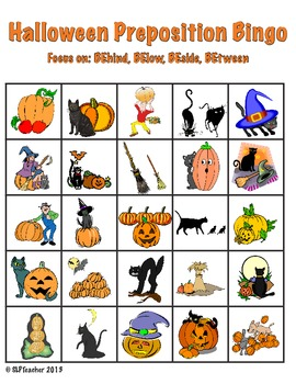 Halloween Preposition Bingo