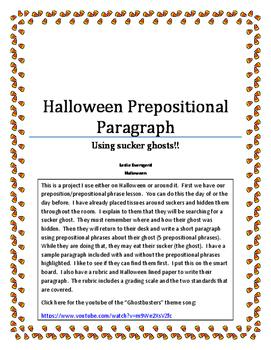 Halloween Prepositional Phrase paragraph
